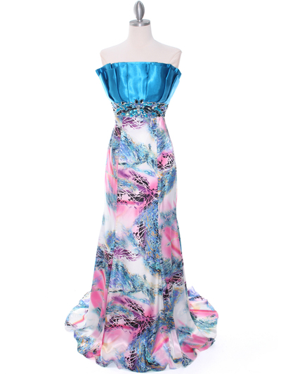 10302 Turquoise Printed Evening Dress - Turquoise, Front View Medium