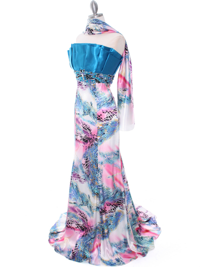 10302 Turquoise Printed Evening Dress - Turquoise, Alt View Medium