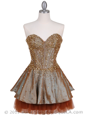 1035 Champagne Beaded Party Dress, Champagne