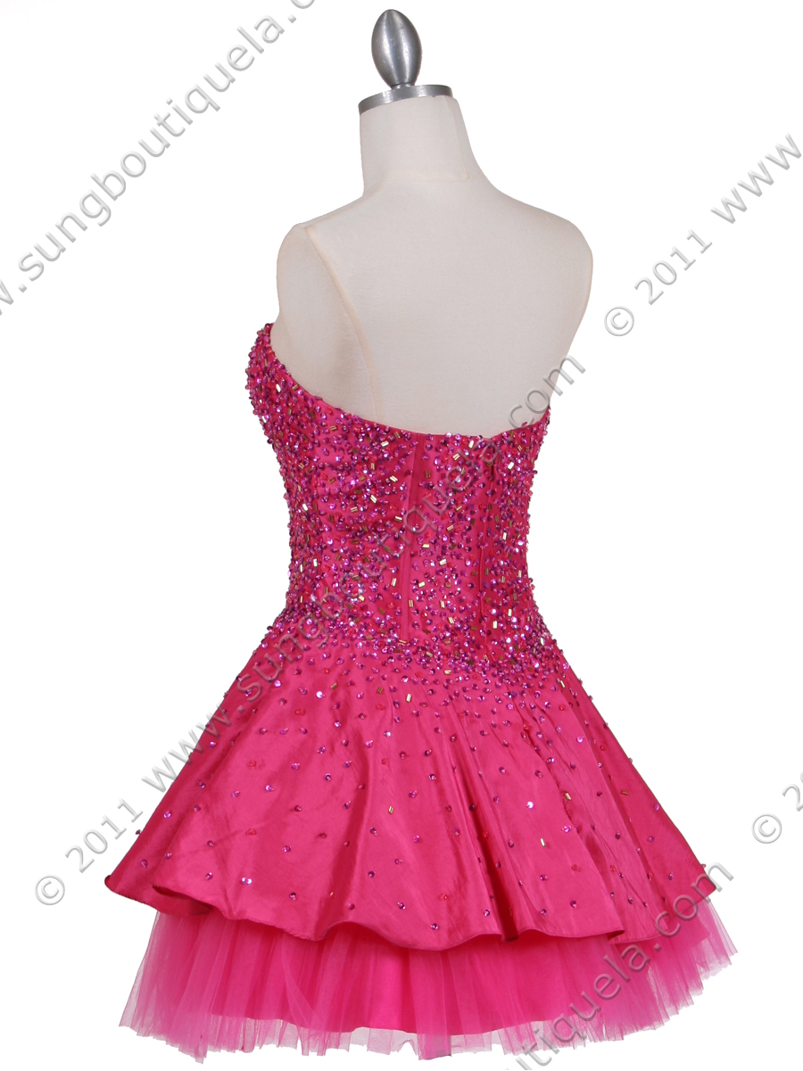 Hot Pink Beaded Party Dress | Sung Boutique L.A.
