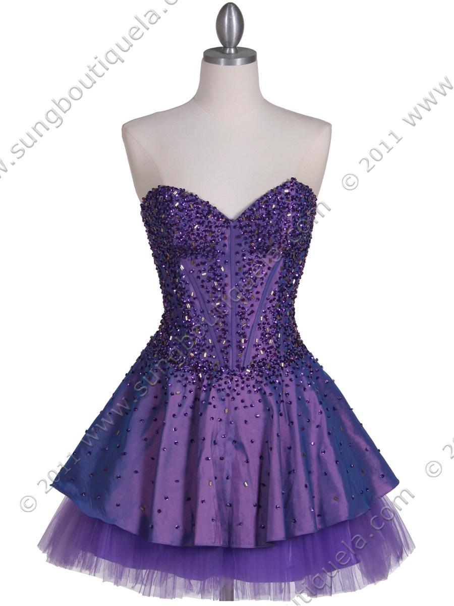Purple Beaded Party Dress | Sung Boutique L.A.