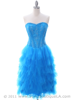 1036 Ocean Blue Tiered Homecoming Dress, Ocean Blue