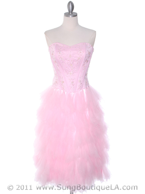 1036 Pink Tiered Homecoming Dress, Pink