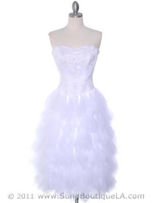 1036 White Tiered Homecoming Dress, White