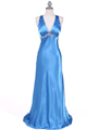 1042 Blue Charmeuse Evening Dress - Blue, Front View Thumbnail