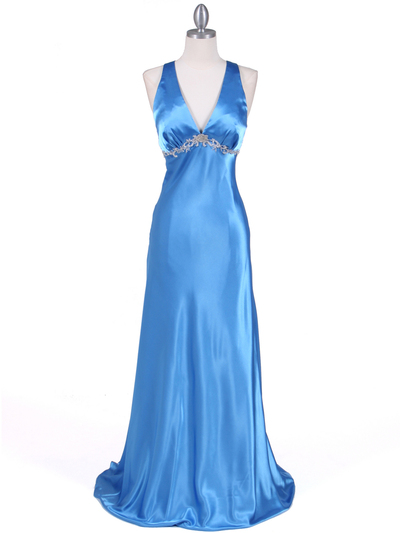 1042 Blue Charmeuse Evening Dress - Blue, Front View Medium