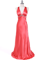 1042 Magenta Charmeuse Evening Dress - Magenta, Front View Thumbnail