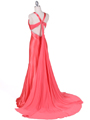 1042 Magenta Charmeuse Evening Dress - Magenta, Back View Thumbnail