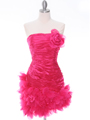 10622 Hot Pink Strapless Ruched Cocktail Dress - Hot Pink, Front View Thumbnail