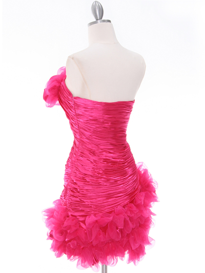 10622 Hot Pink Strapless Ruched Cocktail Dress - Hot Pink, Back View Medium