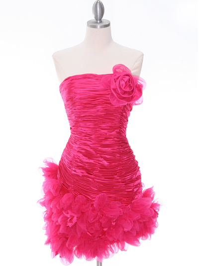 10622 Hot Pink Strapless Ruched Cocktail Dress - Hot Pink, Front View Medium