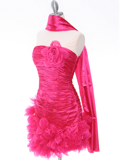 10622 Hot Pink Strapless Ruched Cocktail Dress - Hot Pink, Alt View Medium