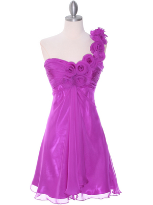 10630 Purple Chiffon Cocktail Dress, Purple