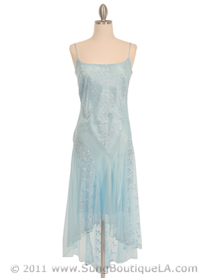 1080 Baby Blue 3/4 Length Floral Laced Dress, Baby Blue