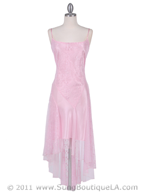 1080 Pink 3/4 Length Floral Laced Dress, Pink
