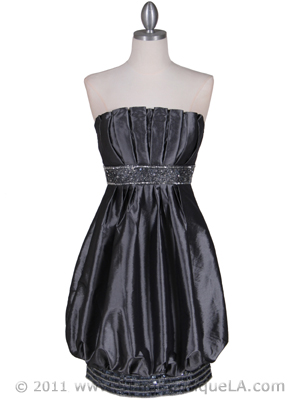 1091 Charcoal Strapless Sequin Cocktail Dress, Charcoal