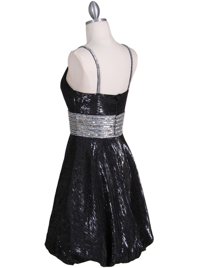 1093 Black Sequin Cocktail Dress - Black, Back View Medium