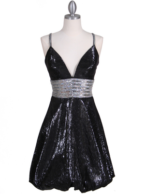 1093 Black Sequin Cocktail Dress, Black