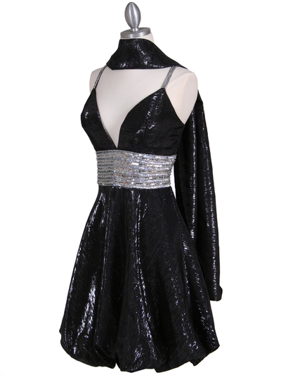 1093 Black Sequin Cocktail Dress - Black, Alt View Medium