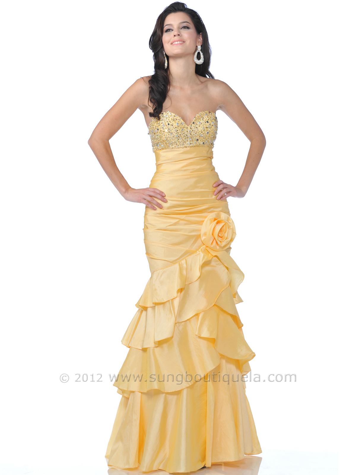 Yellow Strapless Taffeta Prom Dress | Sung Boutique L.A.