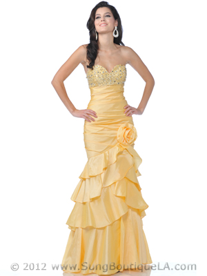 10 Yellow Strapless Taffeta Prom Dress, Yellow