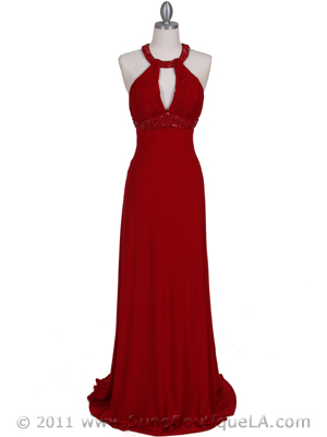 1104 Red Embellished Jersey Gown, Red