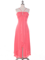 1111 Coral Evening Dress with Rhinestone Pin - Coral, Front View Thumbnail