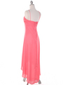 1111 Coral Evening Dress with Rhinestone Pin - Coral, Back View Thumbnail