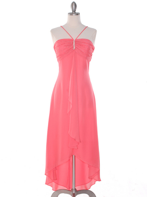 1111 Coral Evening Dress with Rhinestone Pin, Coral