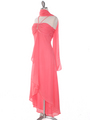 1111 Coral Evening Dress with Rhinestone Pin - Coral, Alt View Thumbnail