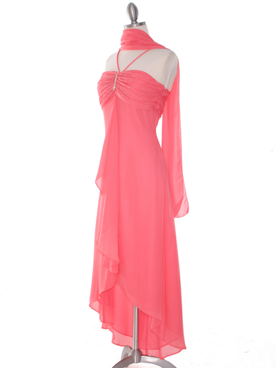 1111 Coral Evening Dress with Rhinestone Pin - Coral, Alt View Medium