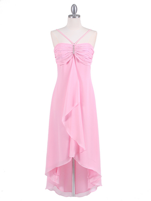 1111 Pink Evening Dress with Rhine Stone Pin, Pink