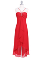 1111 Red Evening Dress with Rhine Stone Pin - Red, Front View Thumbnail