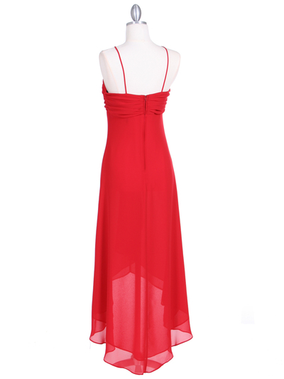 1111 Red Evening Dress with Rhine Stone Pin - Red, Back View Medium