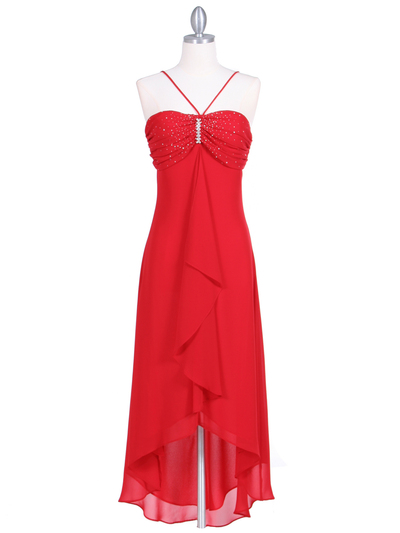1111 Red Evening Dress with Rhine Stone Pin - Red, Front View Medium