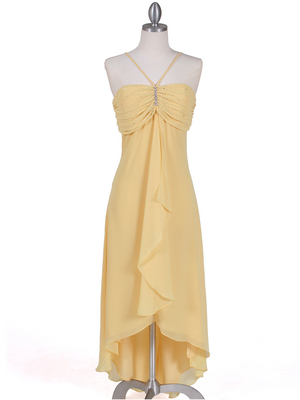 1111 Yellow Evening Dress with Rhine Stone Pin, Yellow