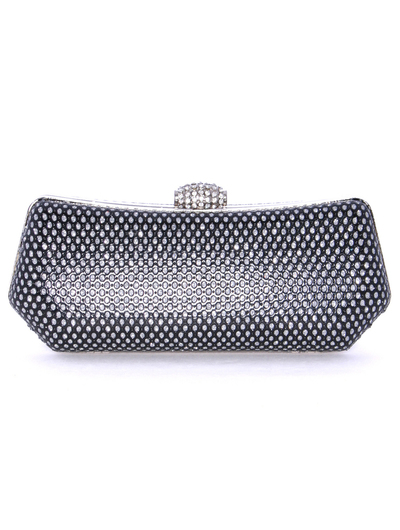 1111TS Black Sparkling Evening Clutch - Black, Front View Medium