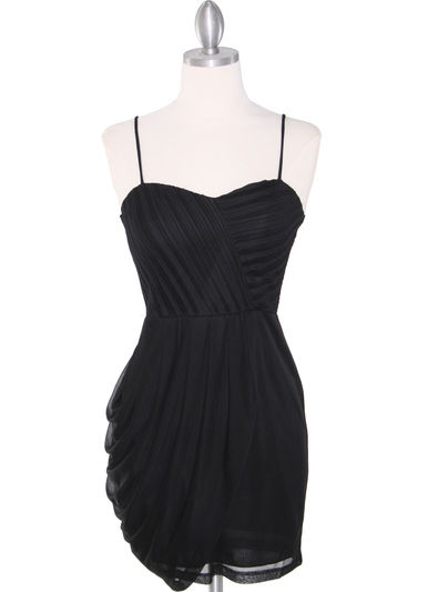 1113 Asymmetrical Mini Cocktail Dress - Black, Front View Medium