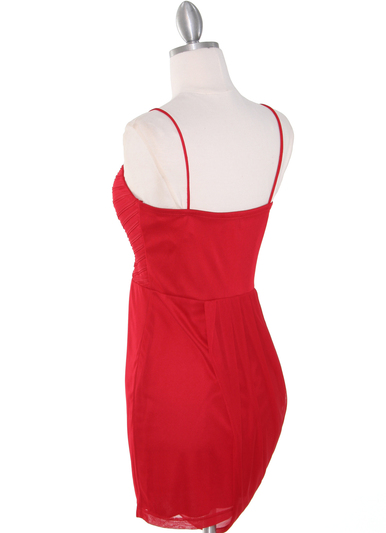 1113 Asymmetrical Mini Cocktail Dress - Red, Back View Medium