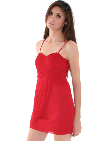 1113 Asymmetrical Mini Cocktail Dress - Red, Front View Medium