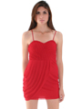 1113 Asymmetrical Mini Cocktail Dress - Red, Alt View Thumbnail
