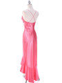 1135 Coral Satin Evening Dress with Rhinestone Buckle - Coral, Back View Thumbnail