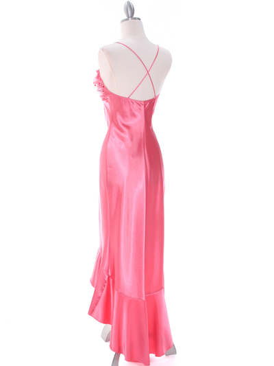 1135 Coral Satin Evening Dress with Rhinestone Buckle - Coral, Back View Medium