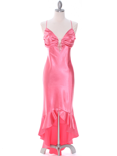 1135 Coral Satin Evening Dress with Rhinestone Buckle - Coral, Front View Medium
