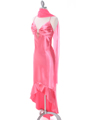 1135 Coral Satin Evening Dress with Rhinestone Buckle - Coral, Alt View Thumbnail