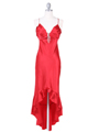 1135 Red Satin Evening Dress with Rhinestone Buckle - Red, Front View Thumbnail
