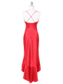 Red Satin Evening Dress with Rhinestone Buckle - Back Image