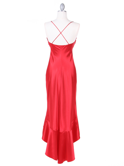 1135 Red Satin Evening Dress with Rhinestone Buckle - Red, Back View Medium