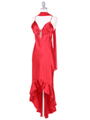 Red Satin Evening Dress with Rhinestone Buckle - Alt Image
