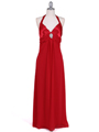 1186 Red Chiffon Evening Dress - Red, Front View Thumbnail